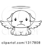 Animal Lineart Clipart Of A Cartoon Black And WhiteCute Mad Puppy Dog Angel Royalty Free Outline Vector Illustration