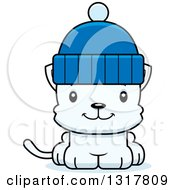Animal Clipart Of A Cartoon Cute Happy White Kitten Cat Wearing A Winter Hat Royalty Free Vector Illustration