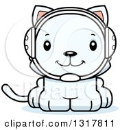 Animal Clipart Of A Cartoon Cute Happy White Kitten Cat Wrestler Royalty Free Vector Illustration