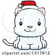 Animal Clipart Of A Cartoon Cute Happy White Christmas Kitten Cat Wearing A Santa Hat Royalty Free Vector Illustration