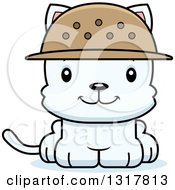Animal Clipart Of A Cartoon Cute Happy White Kitten Cat Zookeeper Royalty Free Vector Illustration