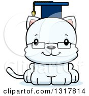 Animal Clipart Of A Cartoon Cute Happy White Kitten Cat Professor Royalty Free Vector Illustration