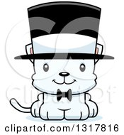Animal Clipart Of A Cartoon Cute Happy White Kitten Cat Gentleman Wearing A Top Hat Royalty Free Vector Illustration