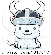 Animal Clipart Of A Cartoon Cute Happy White Kitten Cat Viking Royalty Free Vector Illustration