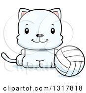 Animal Clipart Of A Cartoon Cute Happy White Kitten Cat Sitting By A Volleyball Royalty Free Vector Illustration