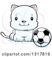 Animal Clipart Of A Cartoon Cute Happy White Kitten Cat Sitting By A Soccer Ball Royalty Free Vector Illustration
