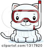 Animal Clipart Of A Cartoon Cute Happy White Kitten Cat Wearing Snorkel Gear Royalty Free Vector Illustration