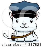 Animal Clipart Of A Cartoon Cute Happy White Kitten Cat Mailman Royalty Free Vector Illustration