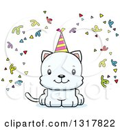 Animal Clipart Of A Cartoon Cute Happy White Party Kitten Cat Royalty Free Vector Illustration