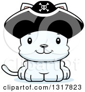 Animal Clipart Of A Cartoon Cute Happy White Kitten Cat Pirate Captain Royalty Free Vector Illustration