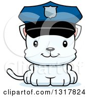 Animal Clipart Of A Cartoon Cute Happy White Kitten Cat Police Officer Royalty Free Vector Illustration