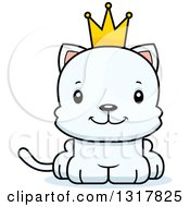 Animal Clipart Of A Cartoon Cute Happy White Kitten Cat Prince Royalty Free Vector Illustration