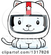 Animal Clipart Of A Cartoon Cute Happy White Kitten Cat Race Car Driver Royalty Free Vector Illustration