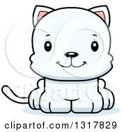 Cartoon Cute Happy White Kitten Cat