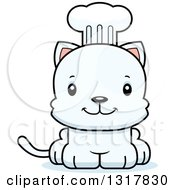 Animal Clipart Of A Cartoon Cute Happy White Kitten Cat Chef Royalty Free Vector Illustration