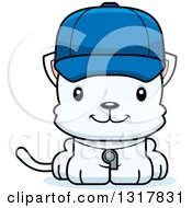 Animal Clipart Of A Cartoon Cute Happy White Kitten Cat Coach Royalty Free Vector Illustration