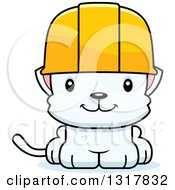Cartoon Cute Happy White Kitten Cat Construction Worker