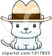Animal Clipart Of A Cartoon Cute Happy White Kitten Cat Cowboy Royalty Free Vector Illustration