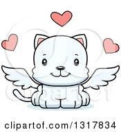 Animal Clipart Of A Cartoon Cute Happy White Kitten Cat Cupid Royalty Free Vector Illustration