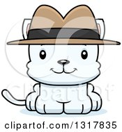 Animal Clipart Of A Cartoon Cute Happy White Kitten Cat Detective Royalty Free Vector Illustration