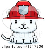 Animal Clipart Of A Cartoon Cute Happy White Kitten Cat Fireman Royalty Free Vector Illustration