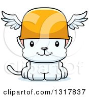 Animal Clipart Of A Cartoon Cute Happy White Kitten Cat Hermes Royalty Free Vector Illustration