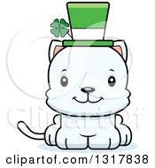 Animal Clipart Of A Cartoon Cute Happy Irish St Patricks Day White Kitten Cat Royalty Free Vector Illustration