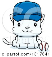Animal Clipart Of A Cartoon Cute Happy White Kitten Cat Sitting By A Baseball Royalty Free Vector Illustration