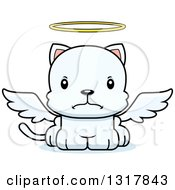 Animal Clipart Of A Cartoon Cute Mad White Kitten Cat Angel Royalty Free Vector Illustration