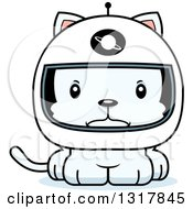 Animal Clipart Of A Cartoon Cute Mad White Kitten Cat Astronaut Royalty Free Vector Illustration