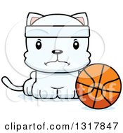 Animal Clipart Of A Cartoon Cute Mad White Kitten Cat Sitting By A Basketball Royalty Free Vector Illustration