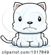 Animal Clipart Of A Cartoon Cute Mad White Kitten Cat Royalty Free Vector Illustration