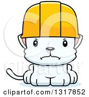 Cartoon Cute Mad White Kitten Cat Construction Worker