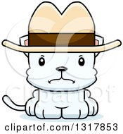 Animal Clipart Of A Cartoon Cute Mad White Kitten Cat Cowboy Royalty Free Vector Illustration