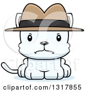 Animal Clipart Of A Cartoon Cute Mad White Kitten Cat Detective Royalty Free Vector Illustration