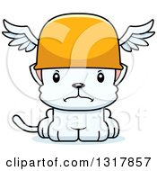 Animal Clipart Of A Cartoon Cute Mad White Kitten Cat Hermes Royalty Free Vector Illustration