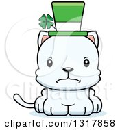 Animal Clipart Of A Cartoon Cute Mad Irish St Patricks Day White Kitten Cat Royalty Free Vector Illustration