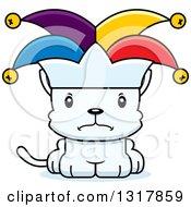 Animal Clipart Of A Cartoon Cute Mad White Kitten Cat Joker Royalty Free Vector Illustration