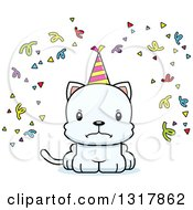 Animal Clipart Of A Cartoon Cute Mad White Party Kitten Cat Royalty Free Vector Illustration by Cory Thoman