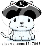 Animal Clipart Of A Cartoon Cute Mad White Kitten Cat Pirate Captain Royalty Free Vector Illustration