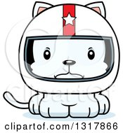 Animal Clipart Of A Cartoon Cute Mad White Kitten Cat Race Car Driver Royalty Free Vector Illustration by Cory Thoman