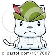 Animal Clipart Of A Cartoon Cute Mad White Robin Hood Kitten Cat Royalty Free Vector Illustration by Cory Thoman