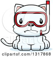 Animal Clipart Of A Cartoon Cute Mad White Kitten Cat Wearing Snorkel Gear Royalty Free Vector Illustration by Cory Thoman