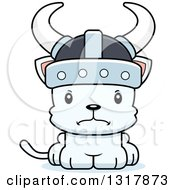Animal Clipart Of A Cartoon Cute Mad White Kitten Cat Viking Royalty Free Vector Illustration