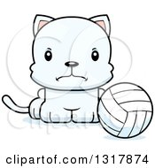Animal Clipart Of A Cartoon Cute Mad White Kitten Cat Sitting By A Volleyball Royalty Free Vector Illustration