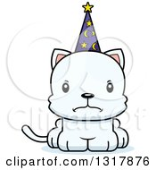 Animal Clipart Of A Cartoon Cute Mad White Kitten Cat Wizard Royalty Free Vector Illustration