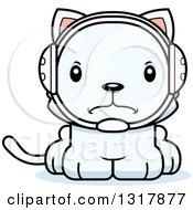 Animal Clipart Of A Cartoon Cute Mad White Kitten Cat Wrestler Royalty Free Vector Illustration