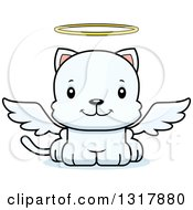 Animal Clipart Of A Cartoon Cute Happy White Kitten Cat Angel Royalty Free Vector Illustration