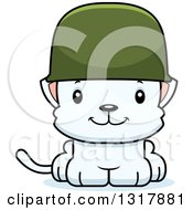 Animal Clipart Of A Cartoon Cute Happy White Kitten Cat Army Soldier Royalty Free Vector Illustration