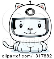Animal Clipart Of A Cartoon Cute Happy White Kitten Cat Astronaut Royalty Free Vector Illustration